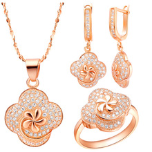 Luxury Women's Necklace Ring Earrings Jewelry Sets UK    suit made Austria Crystal Rose Ring Earrings Necklace