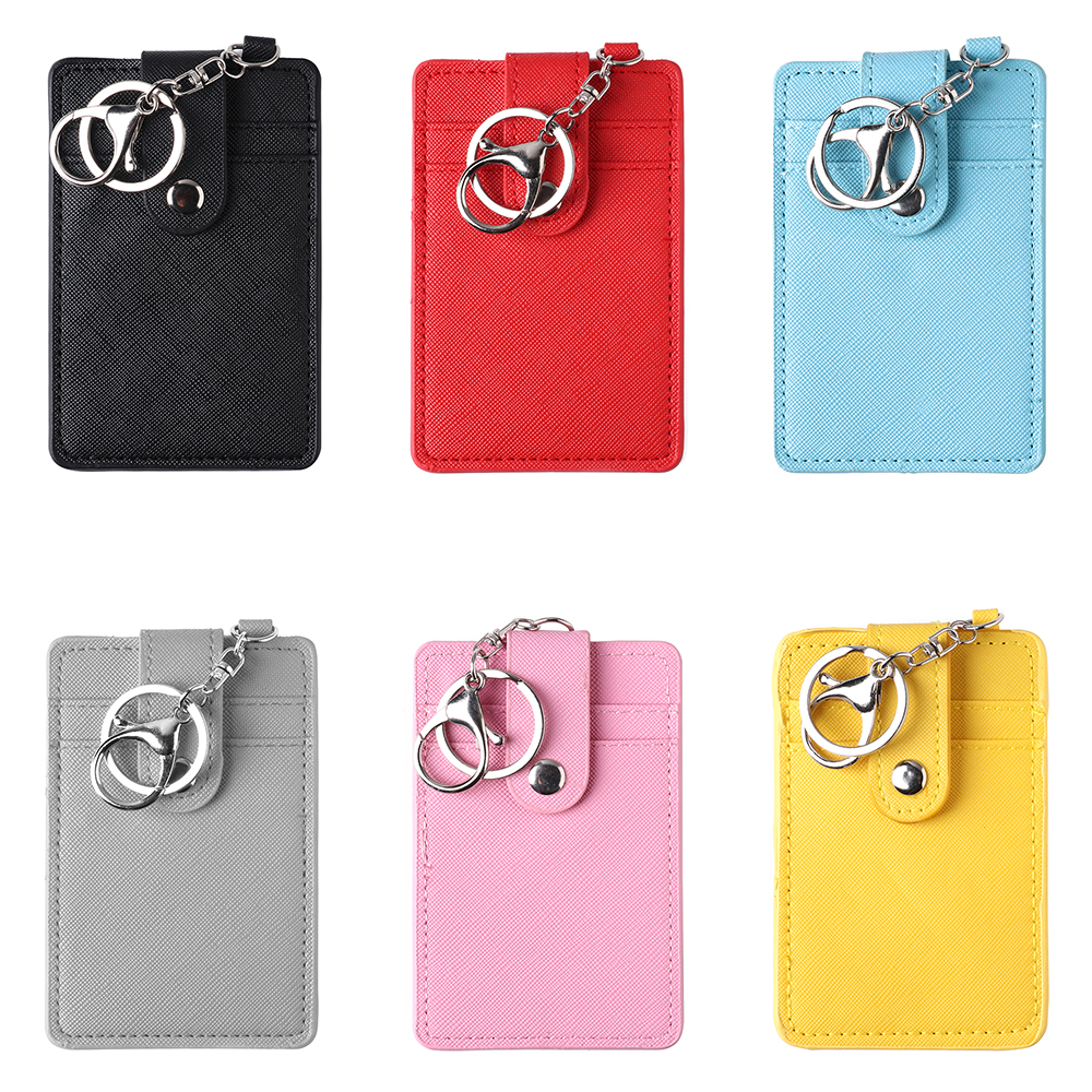2019 New Unisex Portable ID Card Holder Bank Bus Cards Cover Badge Case Office Work Keychain Keyring Tool Protective Shell