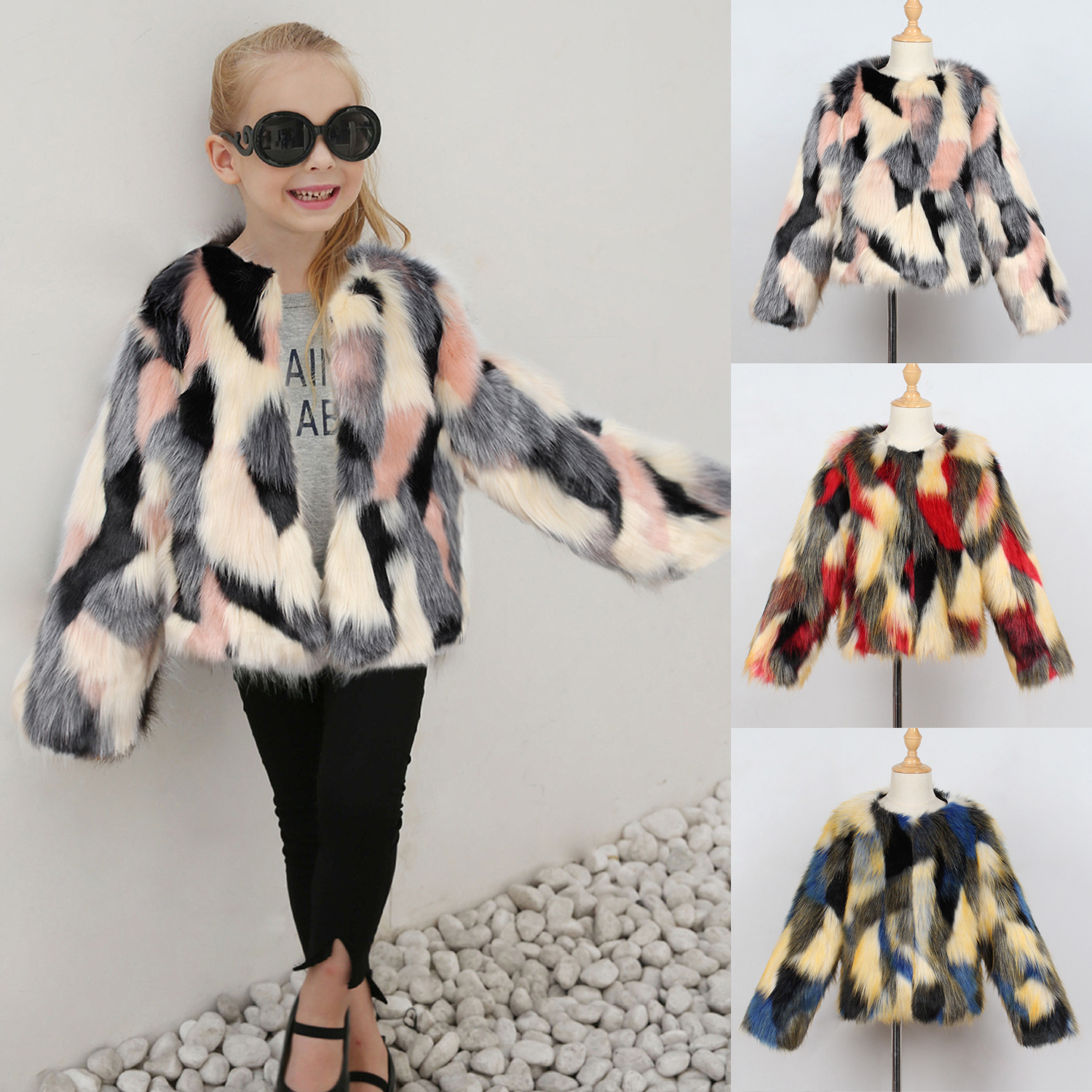 Little Girls Winter Jackets Toddler Faux Fox Fur Coats Multi fur coats Baby Girls Fur Clothes Coloful full sleeve O-neck collarLittle Girls Winter Jackets Toddler Faux Fox Fur Coats Multi fur coats Baby Girls Fur Clothes Coloful full sleeve O-neck collar