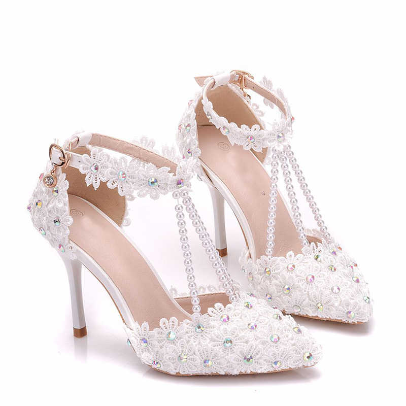 48d376a00 ... Fashion Lady Wedding Dress Shoes Pointed Toe AB Diamonds Heels Bridal  Shoes White Lace Sandals High ...