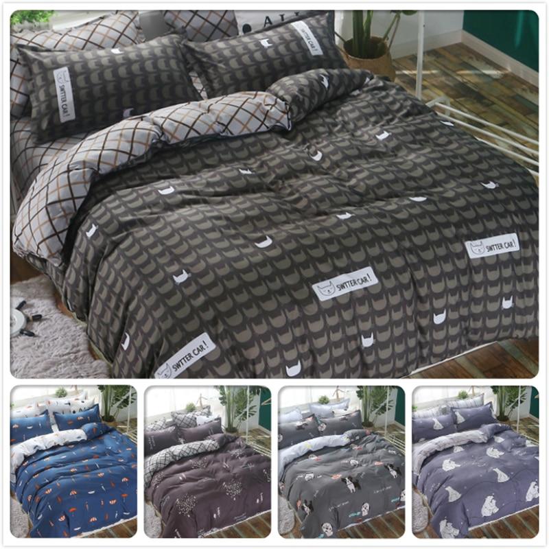 Stripe Plaid Creative Duvet Cover AB Side Comforter Quilt Case 4pcs Bedding Set Couple Men Bed Linen Full King Queen Size Cotton