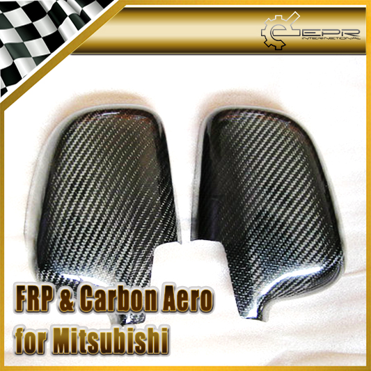 EPR Car Styling For Mitsubishi Evolution EVO 4 5 6 Carbon Fiber Mirror Cover Glossy Fibre Door Side Accessories Racing Trim