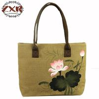Lotus Hand Painted Female Single Shopping Bags Large Capacity Chinese Style Women Beach Bags Casual Tote Feminina