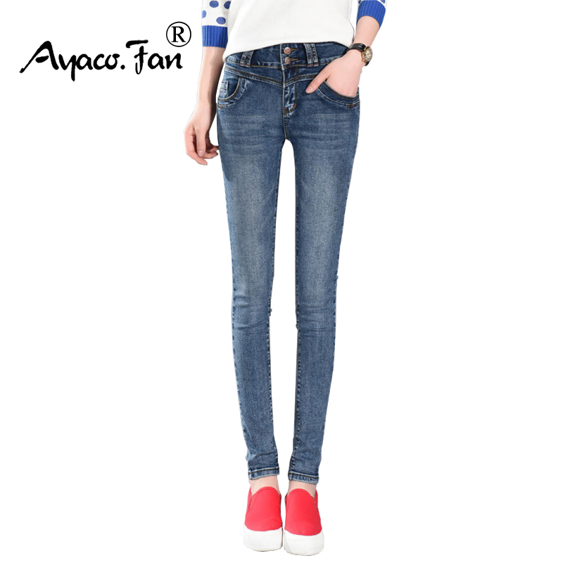 2017 Women Jeans Spring Fashion Mid Waist Breasted Denim Pants Female Show Slim Sexy Casual Pencil Jeans Lady Skinny Trousers