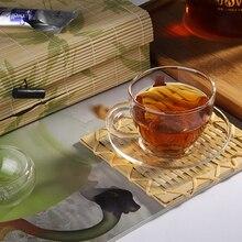 4 компл./лот,, прозрачная термостойкая стеклянная чайная чашка и блюдце, набор ручной работы, кунгфу чай, чашки, посуда JP 1065