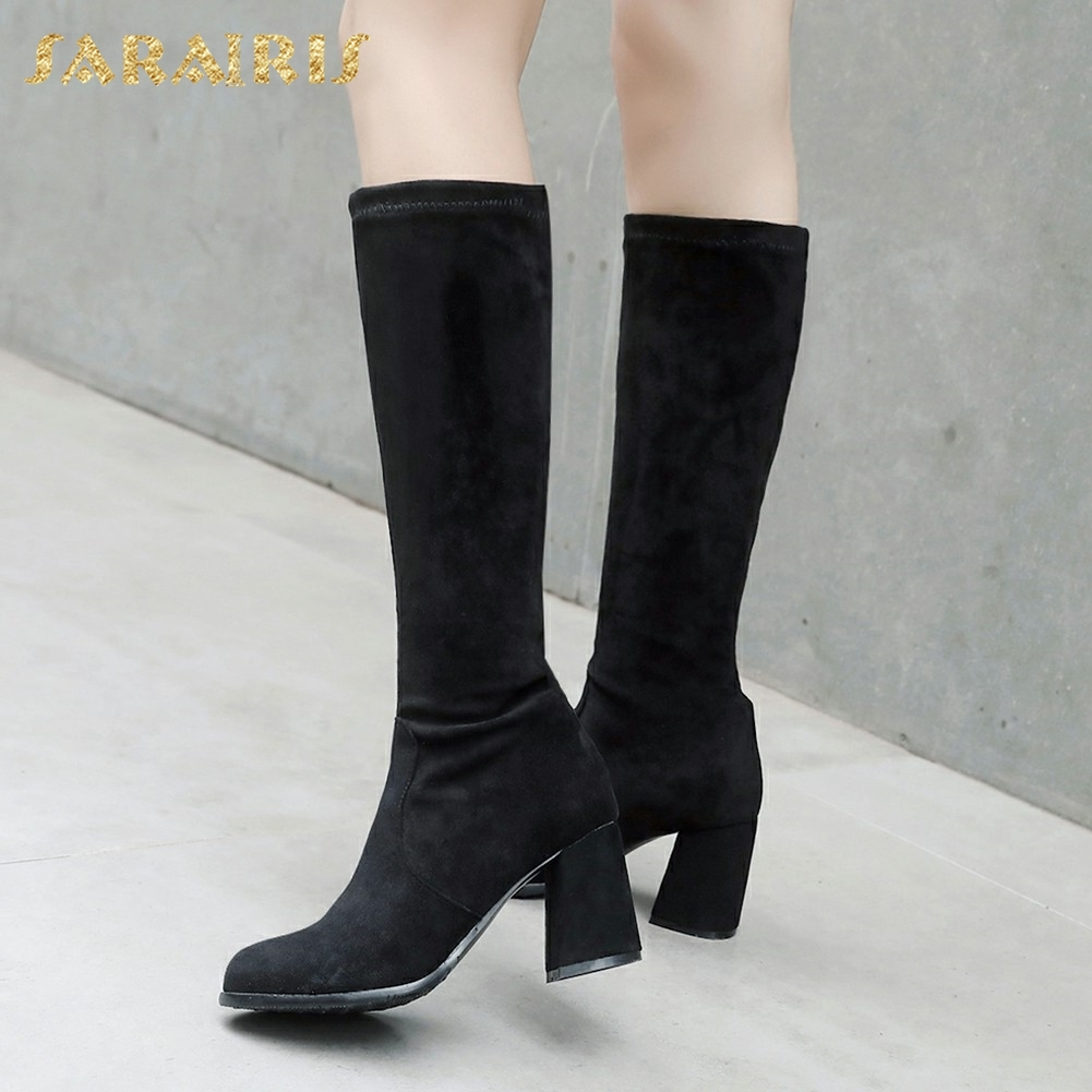 SARAIRIS New Plus Size 32-46 Slip On Add Fur Add Fur Winter Boots Woman Shoes Chunky Heels Mid Calf Boots Shoes Woman high torque gear box 30rpm 37gb 37mm 12v powerful dc motor 12v electric motor 12v brushless dc motor fan electric boat motor
