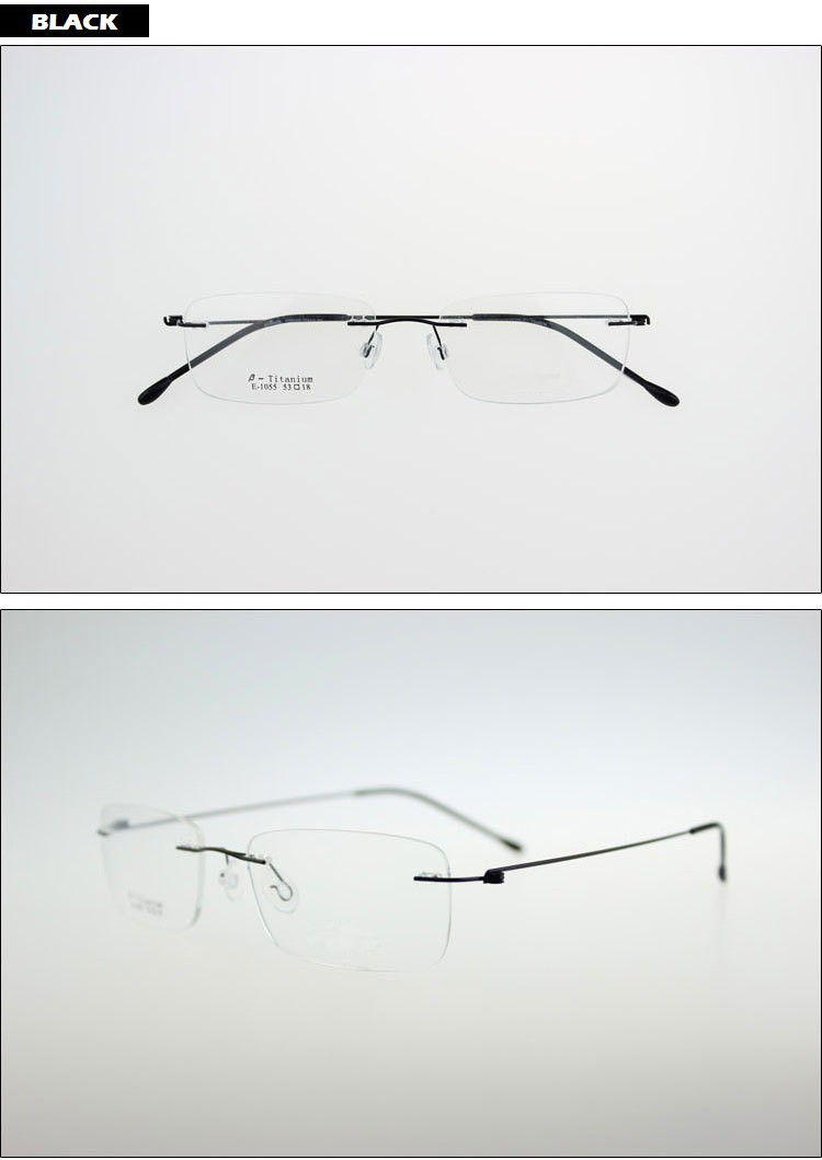 2862617c35 Ultralight Titanium Rimless Glasses Frame Myopia Frame Good Look and  Comfort Glasses Frames. Black Frame ...