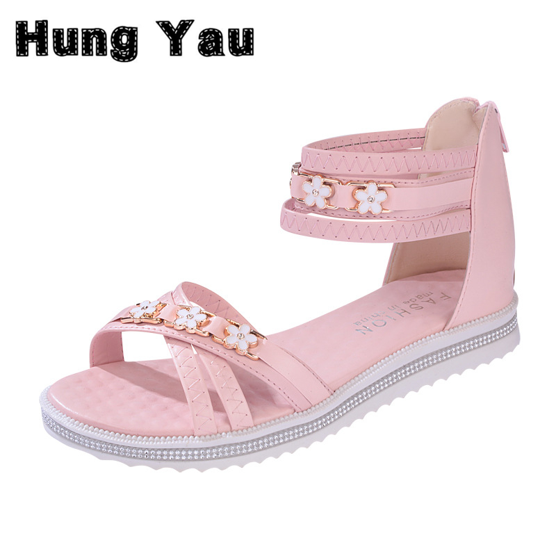 Hung Yau Flat Sandals Ankle T-strap Summer Style Fashion Trend Purple Sandals Bohemia Nation Flat Beaded Sandals Plus Size 9