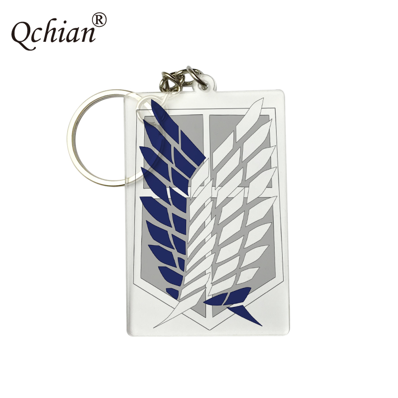 Transparent Acrylic Suitcase Backpack Tag Attack on Titan Shingeki no Kyojin HD Picture Printed Keychain Logo Customization