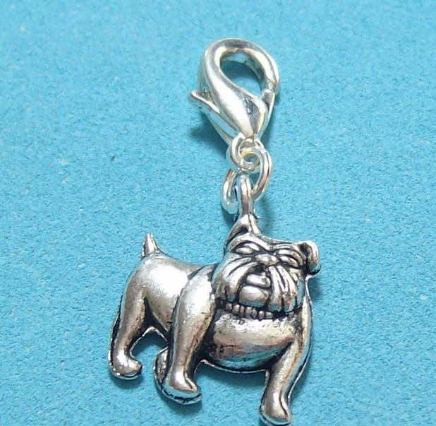 50pcs Vintage Silvers Bulldog Dog Alloy Floating Charms Pendants Clasp Clip For Bracelet Women DIY Fashions Jewelry Gift P1667
