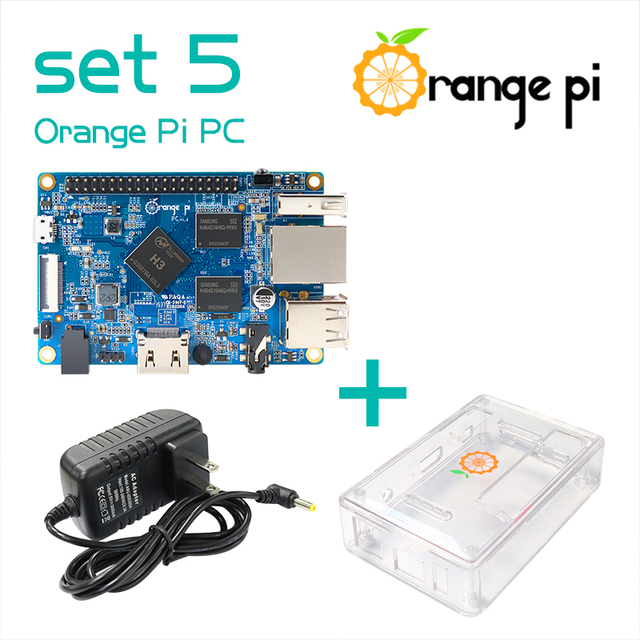 Orange Pi PC SET5 :  Orange Pi PC+ Transparent  ABS Case+ Power Supply Supported Android, Ubuntu, Debian