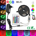 Waterproof 30LEDS/M led strip light 5050 smd 4m 5M 8m 10m  RGB led flexible Strip +24key WIFI remote controller DC12V  Adapter