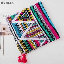 KYQIAO designer ethnique écharpe pour femmes automne hiver Espagne style  long bohème motif géométrique col écharpe foulard 51e38774462