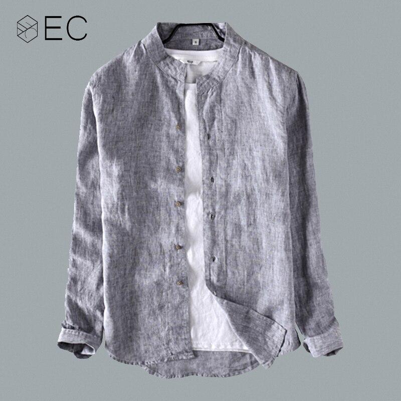 EC2018 новые мужские рубашки с длинным рукавом льняные рубашки повседневные рубашки 100% чистая линия модная свободная дышащая брендовая одежд...