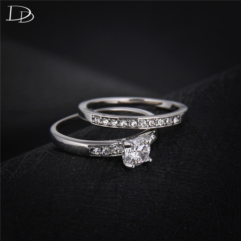 925 Sterling Sliver Ring Sets For Women Double Band Wedding Engagement  Promise Aaa Rhinestone Rings Allience Female Bijoux Dd124