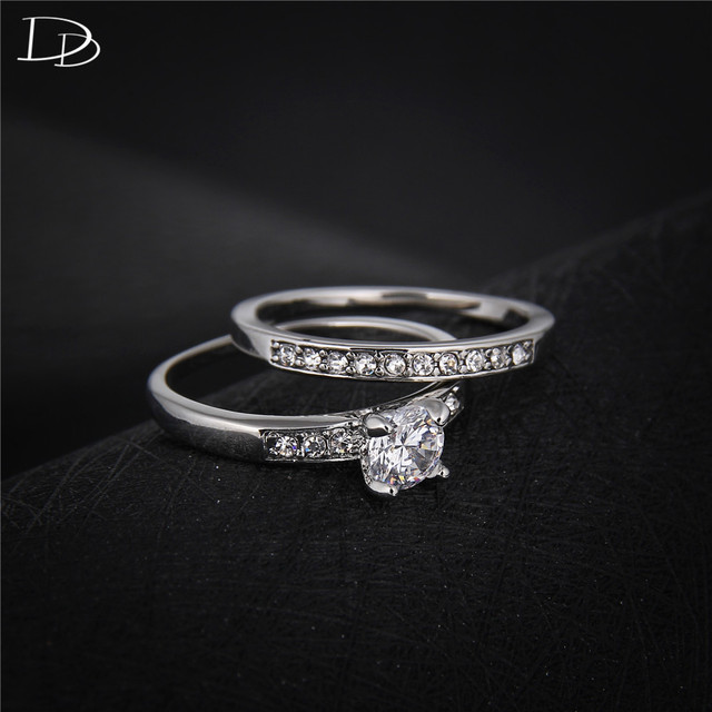 925 sterling sliver ring Sets for women double band wedding ...