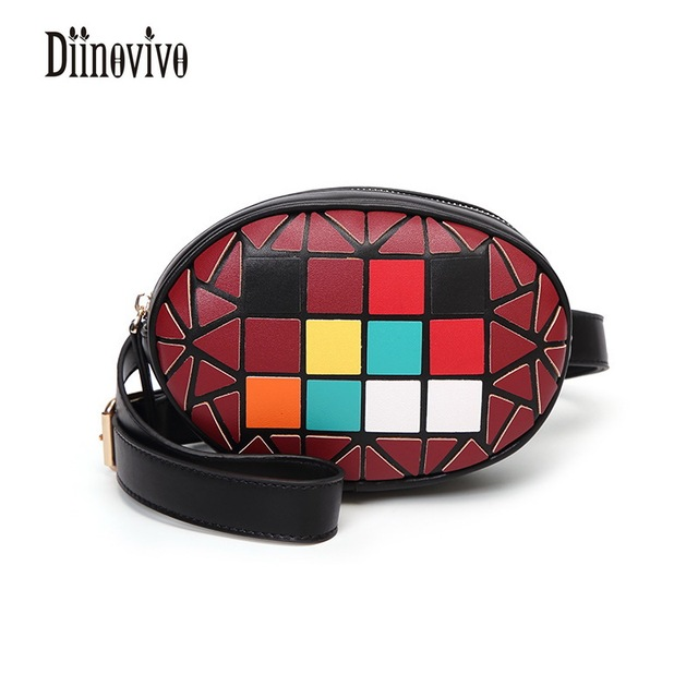DIINOVIVO Fashion Geometric Panelled Female Belt PU Leather Waist Bag Star Style Travel Belt Trendy Casual New Small Bag DNV0343