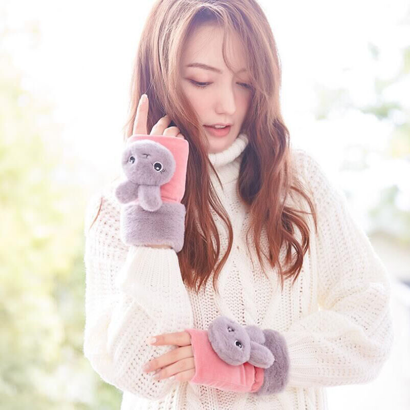BING YUAN HAO XUAN Fashion Winter Gloves Women Cartoon Rabbit Fur Animal Gloves Winter Gloves Suede Half Finger Gloves Female in Men 39 s Gloves from Apparel Accessories
