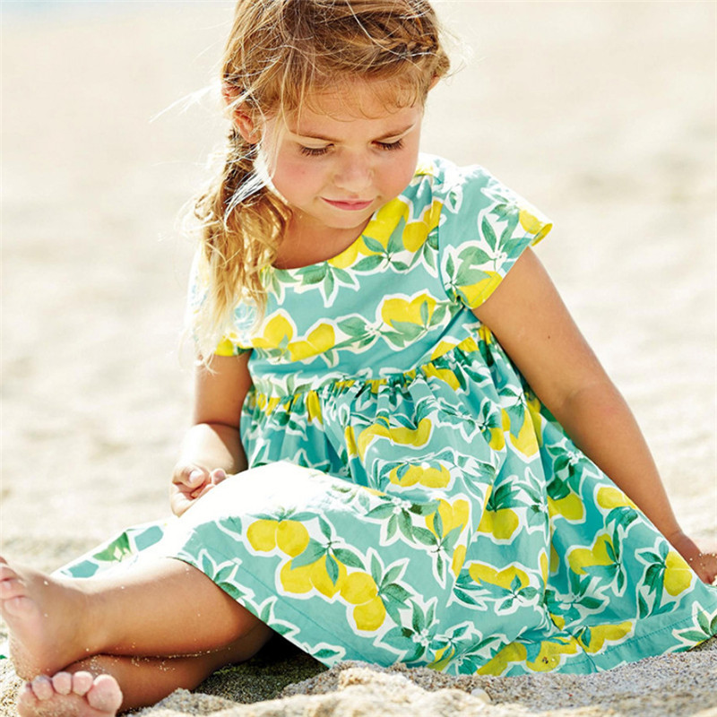 Summer Baby Dresses Cotton fabric With fruit Printed Fashion Girls Dress  2019 New Children Clothing Princess Party Girl DressesSummer Baby Dresses Cotton fabric With fruit Printed Fashion Girls Dress  2019 New Children Clothing Princess Party Girl Dresses