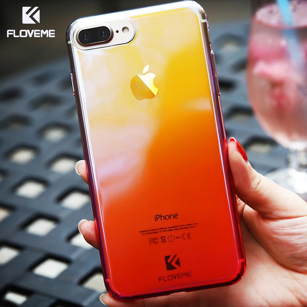 Floveme cambiar color clear case para iphone 7 5 6 5S sí ultra thin casos los ac