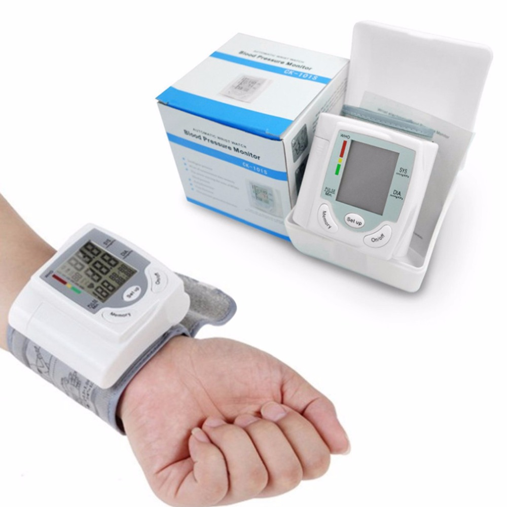 Automatic Sphygmomanometer Digital LCD Display Wrist Blood Pressure Monitor Heart Beat Rate Pulse Meter Health Care+Retail Box