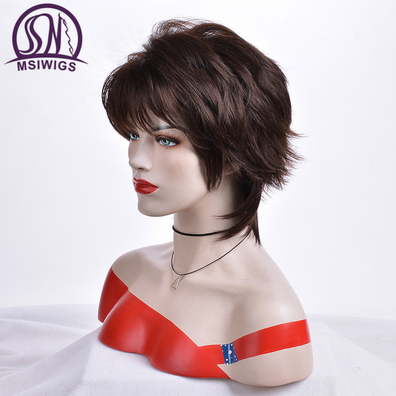 Image 3 - MSIWIGS Straight Short Wigs for Women Dark Brown Synthetic Hair Wig with Bangs Ombre Hair with Highlights-in Synthetic None-Lace  Wigs from Hair Extensions & Wigs