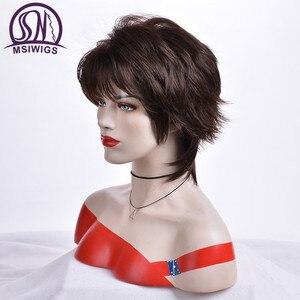 Image 3 - Msiwigs peruca curta para mulheres, cabelo sintético castanho escuro com franja ombré com destaques