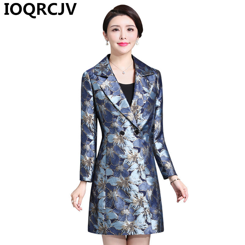 Women's Print   Trench   Coat 2019 Spring Autumn Elegant Female Windbreaker High Quality Overcoat Long Sleeve Causal Outerwear R817
