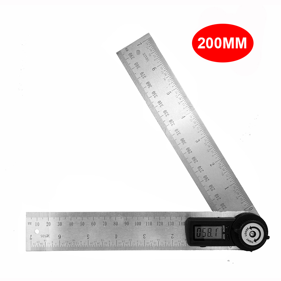 200mm Digital ángulo regla transportador ángulo de acero inoxidable inclinómetro goniómetro electrónico de ángulo herramienta de medición