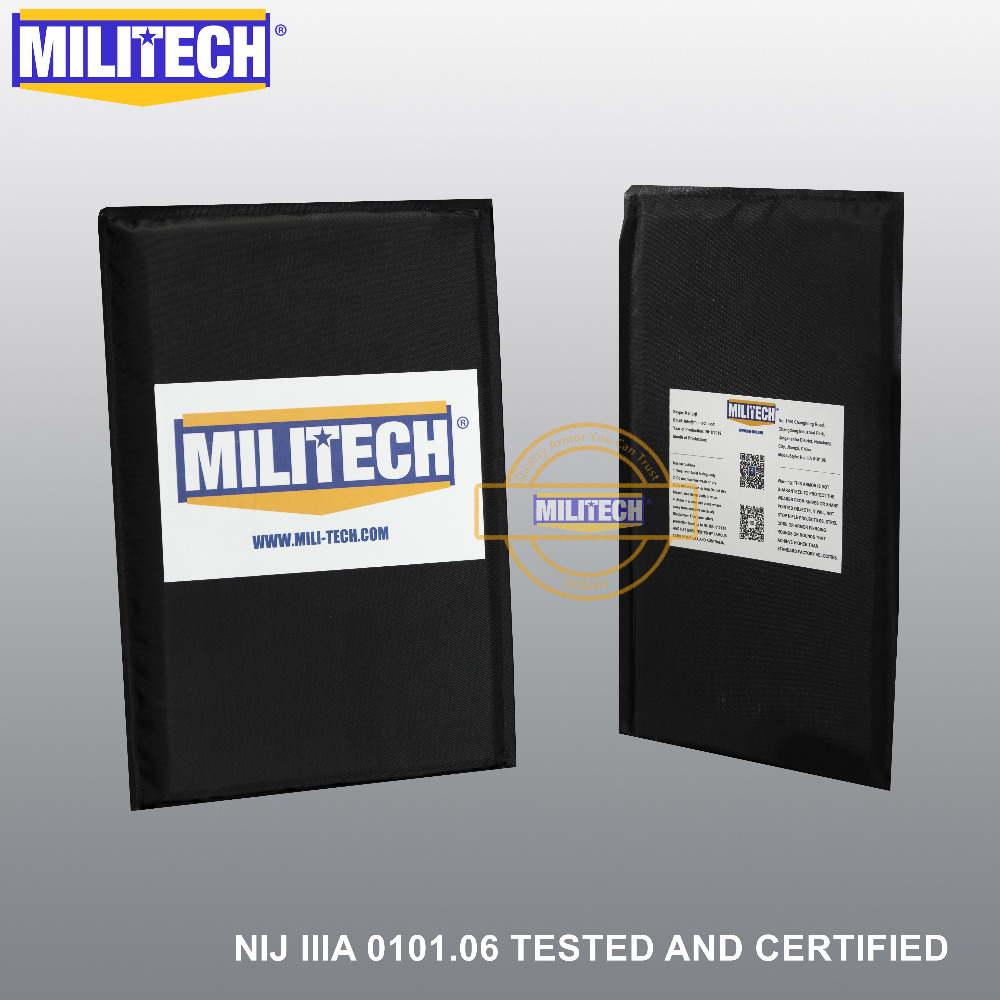 Ballistic Panel BulletProof Plate NIJ Level IIIA 3A & NIJ 0101.07 Level HG2 5 X 8 Inches Pair Aramid Soft Body Armor--MILITECH