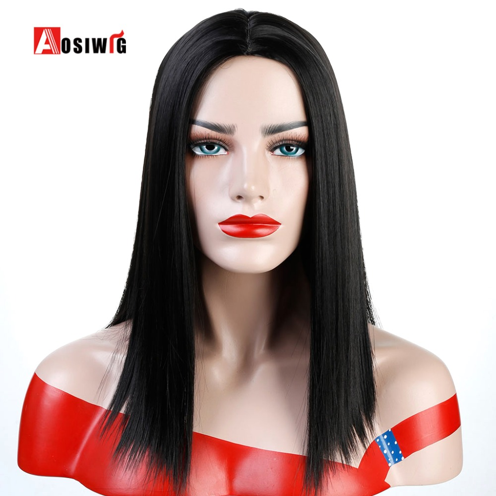 Synthetic Straight Hair Black Short Bob Wigs Middle Part Wig for Women Girls Costume Daily Wear AOSWIG