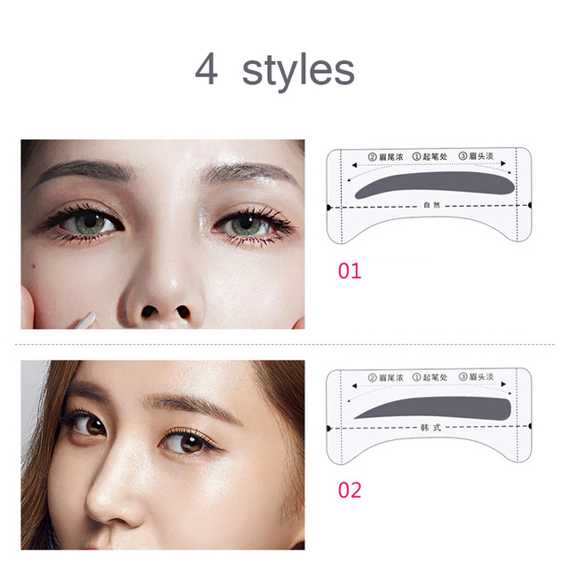 8pair/Set Eyebrow Stencil Shaping Tool Models Eye Brow Template Drawing Card Stencil for Eyes Eyebrow Shaper Beauty Makeup Tools 2