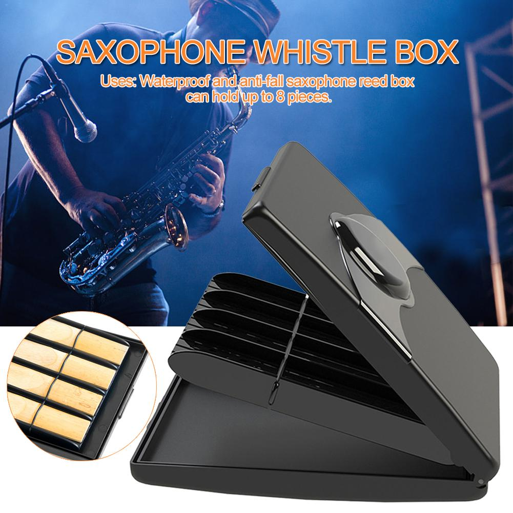 High Quality Sax Clarinet Reeds Case Holder Box Black ABS 8pcs Reeds Capacity For Saxophone Clarinet Reeds Woodwind Instruments