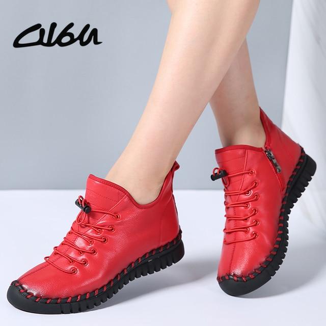 O16U phụ nữ Mới Chính Hãng Giày Da Phong Cách Vintage Phẳng Boot Da Bò Mềm Mại nữ Khóa Kéo bên hông Mắt Cá Chân Giày Nữ mùa đông