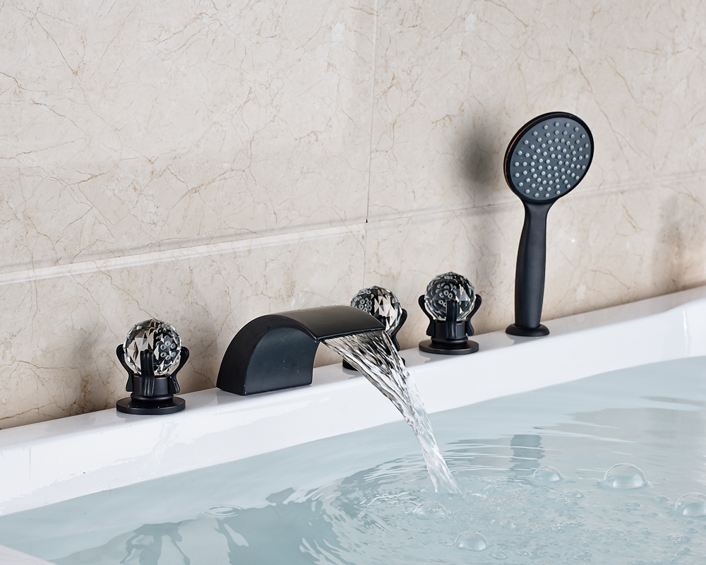 Oil Rubbed Bronze 3 Crystal Handles Bathtub Faucet Widespread 5pcs Mixer Tap With Hand Shower