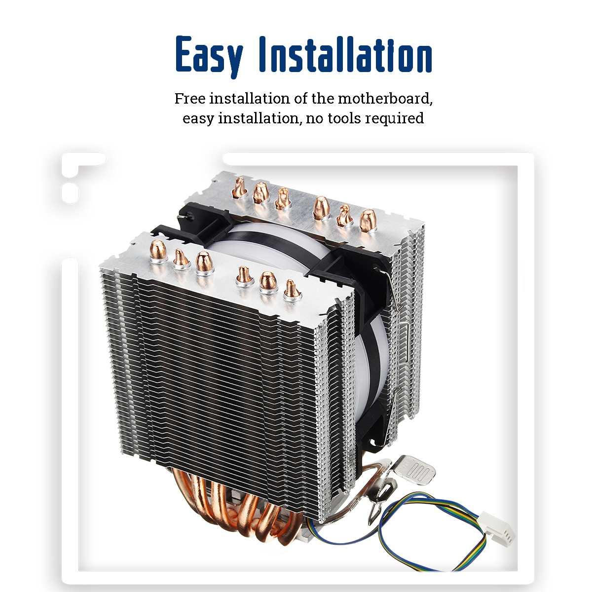 6 Heat Pipe CPU Heatsink for Intel 775/1150/1151/1155/1156/1366 and All AMD 3