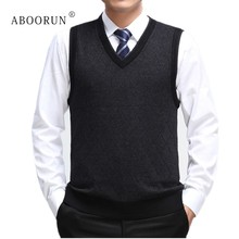 ABOORUN 2018 Mens Casual Plaid Sweater Vest High Quality Male V Neck Knitted  Cashmere Pullover for d03c44a25