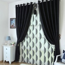 Ткань черная эко-дружественная рельефная полная огранка Цветочная пряжа черная красота отвесная/Тюль с затемненными занавесками для гостиной