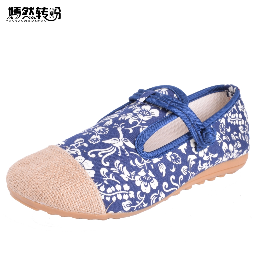 Vintage Women Flat Shoes Canvas Cloth Embroidery Retro Han Dynasty Dance Cotton Fabric Linen Comfortable Sapato Feminin vintage embroidery women flats chinese floral canvas embroidered shoes national old beijing cloth single dance soft flats