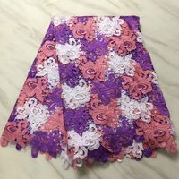 5Y/pc beautiful three colors flower design african water soluble lace embroidery french guipure lace fabric for dress BW112 15