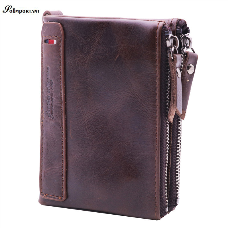 New Vintage Genuine Leather Men Wallet Mini Small Double Zipper Men Walet Portomonee Male Short Coin Purse Brand Perse Carteira