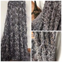lace fabric handmade 3d flower luxury french net lace 2018 bridal lace fabric dentelle tissu ZLN43
