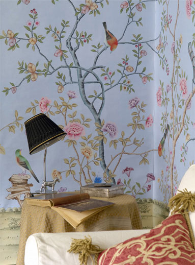 Hand-painted silk wallpaper european style painting flower with birds HAND PAINTED WALL PAPER many pictures/backgrounds optional