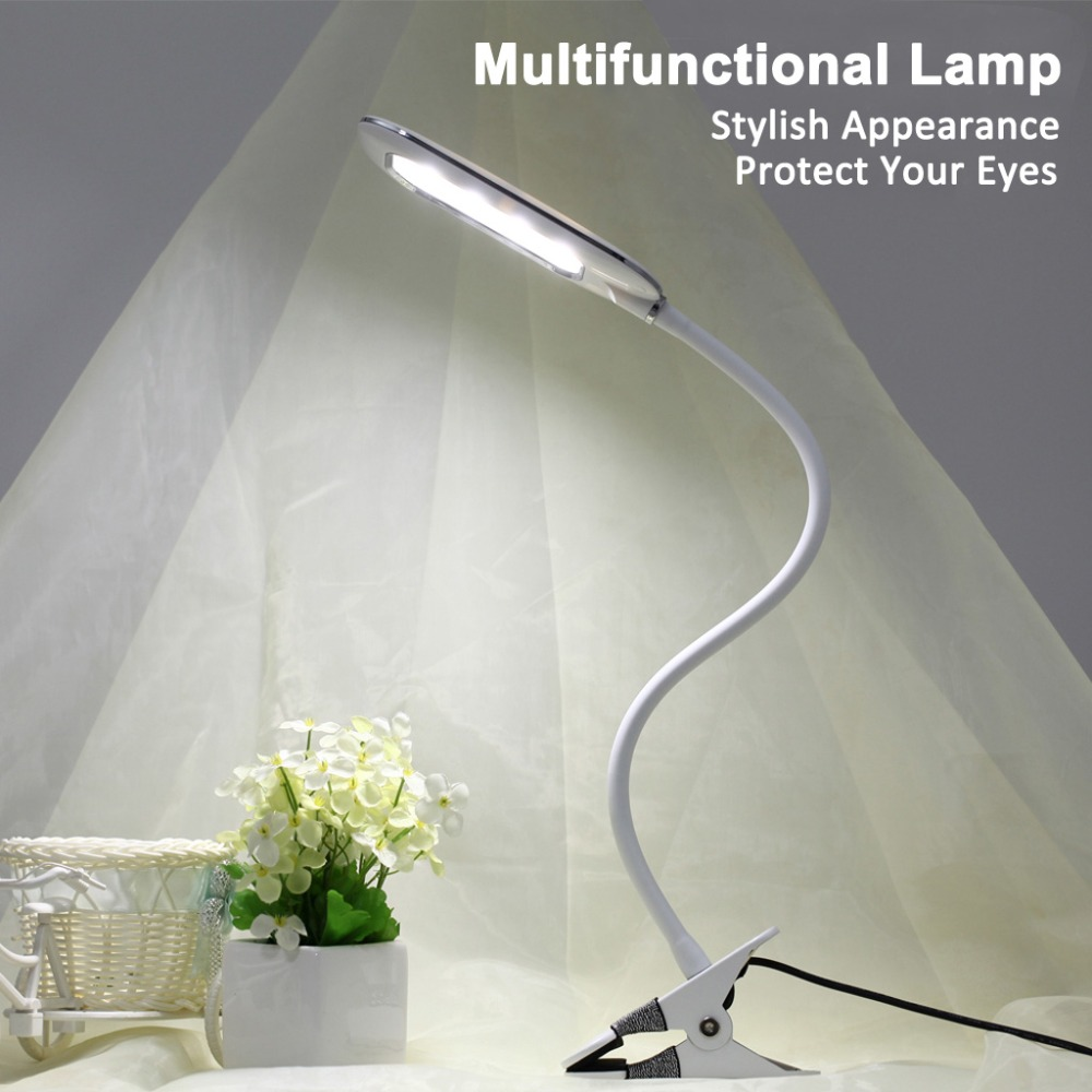 Dimmable LED Table Lamp 5W USB Flexible Clip On Clamp Desk