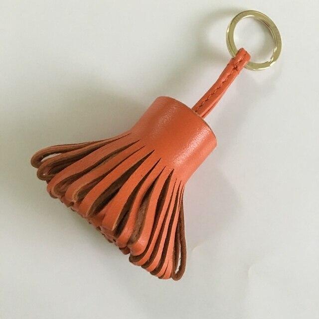 ПРЕКРАСНЫЙ Красоты Натуральной Кожи кисточкой Брелок для леди сумка Прохладный мужчины ключа автомобиля кольцо Кулон Из Натуральной Кожи