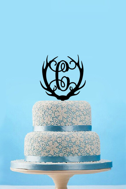 Personalized Antlers Monogram Cake Topperhunting Wedding Topperfunny Deer Topper