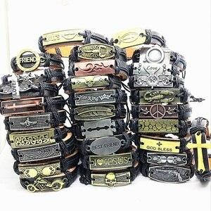 Image 4 - Wholesale Lots Bulk 50pcs genuine Cuff leather Bracelet Men Women unisex mosaic Copper alloy Mix Styles Fashion Handmade Jewelry