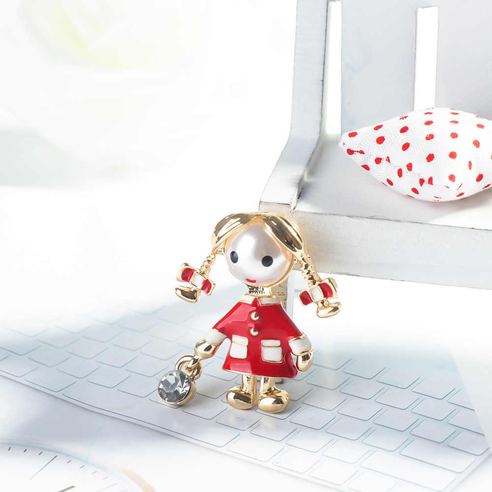 2019 New Merah Enamel Gadis Kecil Bros untuk Wanita Cute Fashion Lolita Bros Pin Gaya Musim Panas T-shirt Perhiasan Anak Baik hadiah