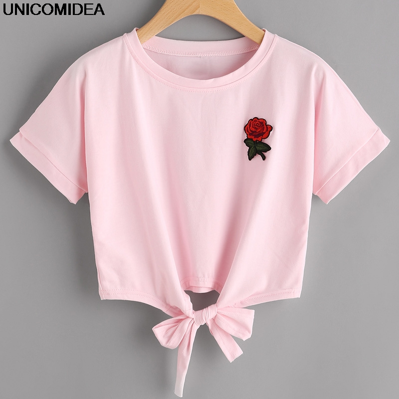 Fashion Summer Kawaii Embroidery Rose T Shirts Women Short ...