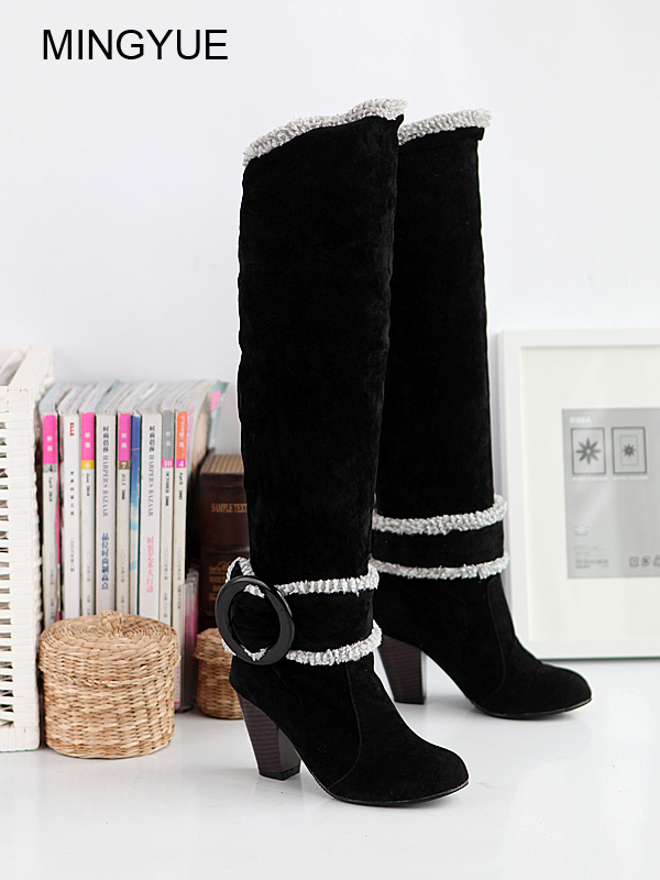 Big Size 34-43 Over the Knee Boots for Women Sexy High Heels Long boots Winter Shoes Round Toe Platform Knight Boots 258 big size 34 43 women over knee high boots sexy thin high heels red bottom shoes round toe platform women winter snow boots